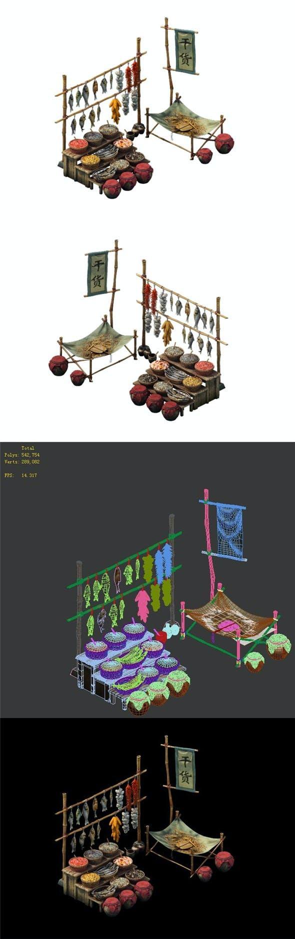 Game model - dry goods stall - 3DOcean Item for Sale