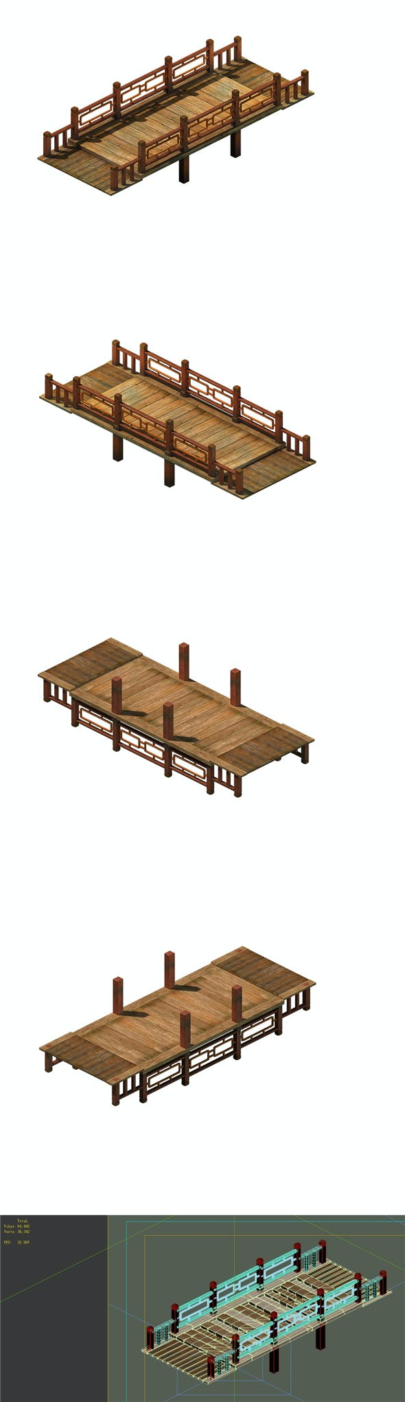 Game model - ancient wooden bridge - 3DOcean Item for Sale