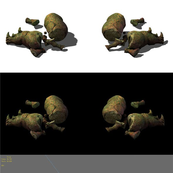Game Model - Tomb Raider Protector Beast Rhinoceros Statue 2