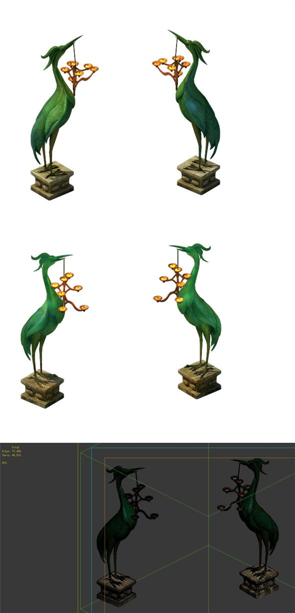 Game Model - Tomb of the Crane Light figurines - 3DOcean Item for Sale