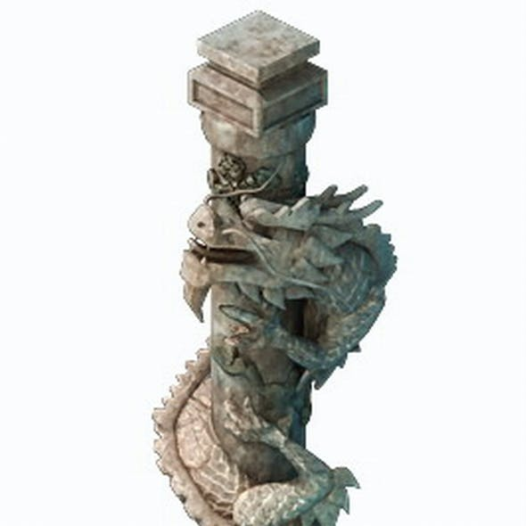 Game Model - Tombstone Dragon Shaped Pillar 01