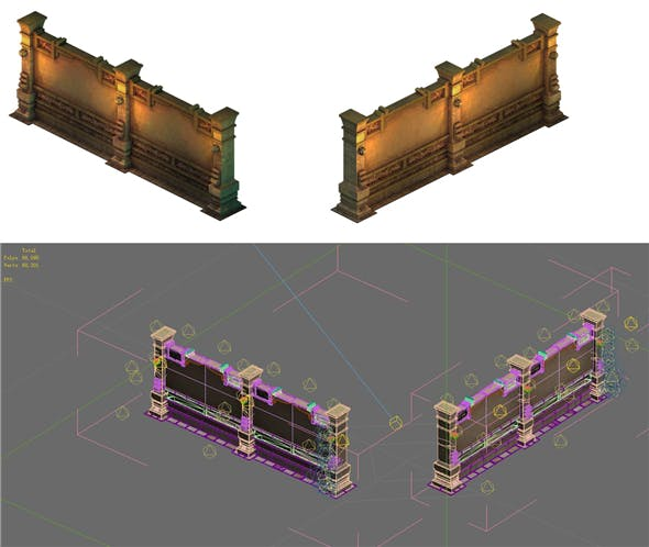 Game Model - Ancient tomb wall 012 - 3DOcean Item for Sale