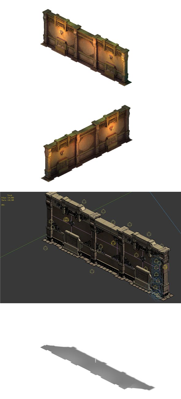 Game model - the tomb wall 02 - 3DOcean Item for Sale