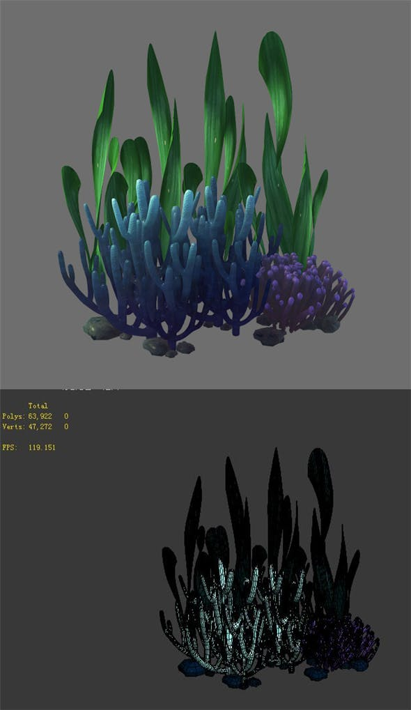 Game Model - Seabed - Coral Cluster - 3DOcean Item for Sale