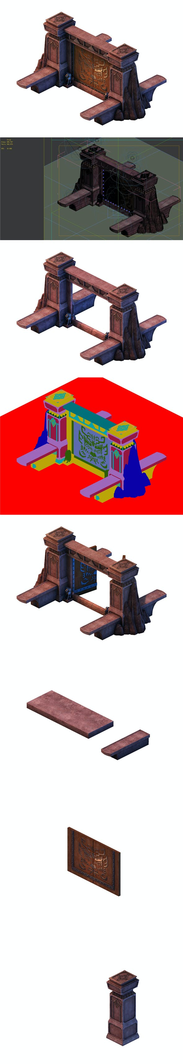 Game model - gorgeous stone gate - 3DOcean Item for Sale