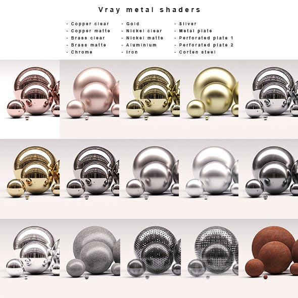 Vray metal shaders collection - 3DOcean Item for Sale