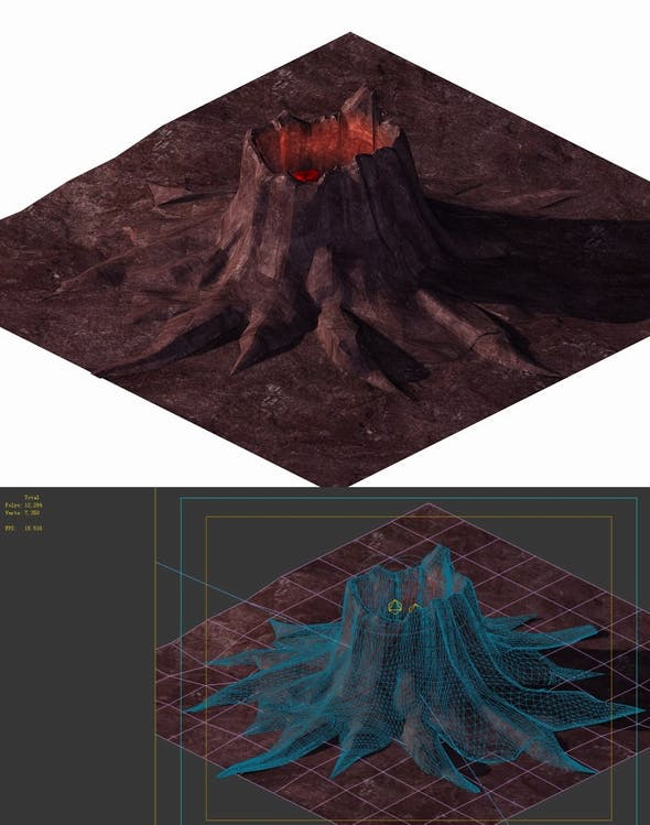 Game model - volcanic tree-like magma mouth - 3DOcean Item for Sale