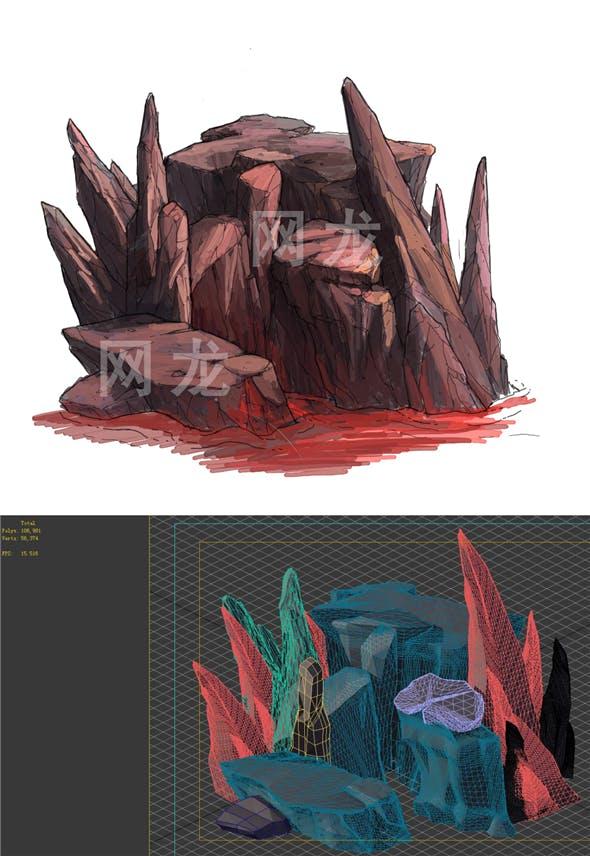 Game Model - Volcano Cliff 02 - 3DOcean Item for Sale