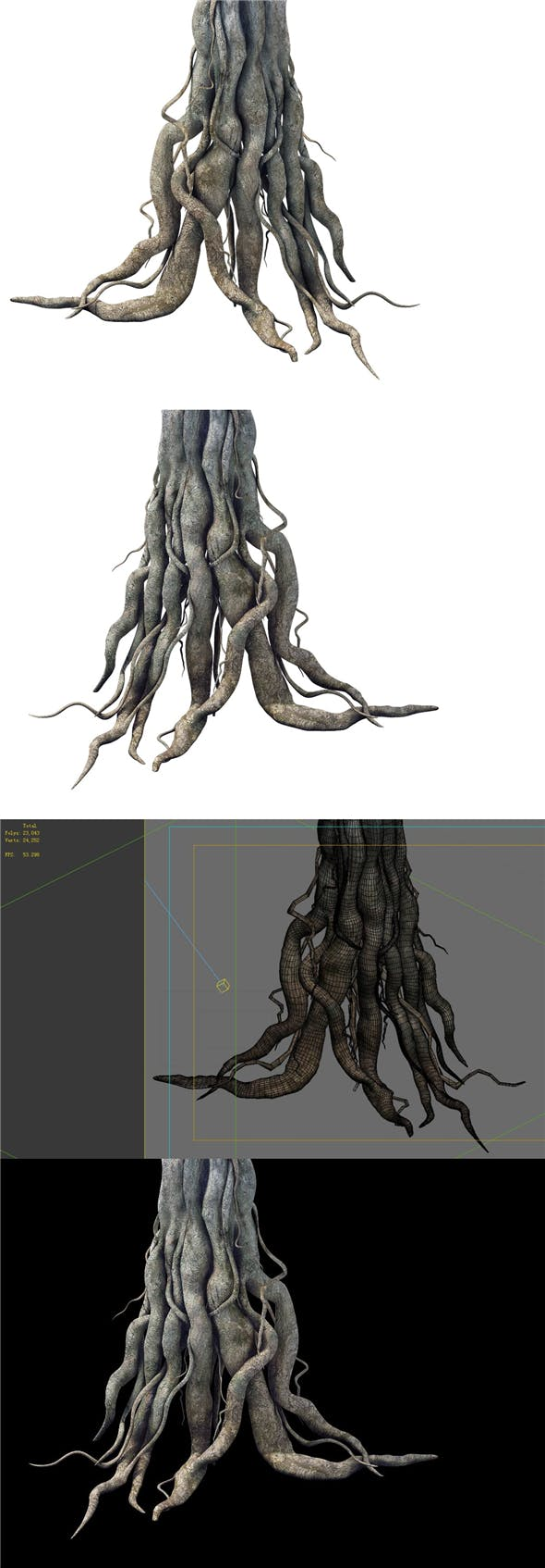 Game Model - Kashayana Buddha Forest Big Tree Root - 3DOcean Item for Sale