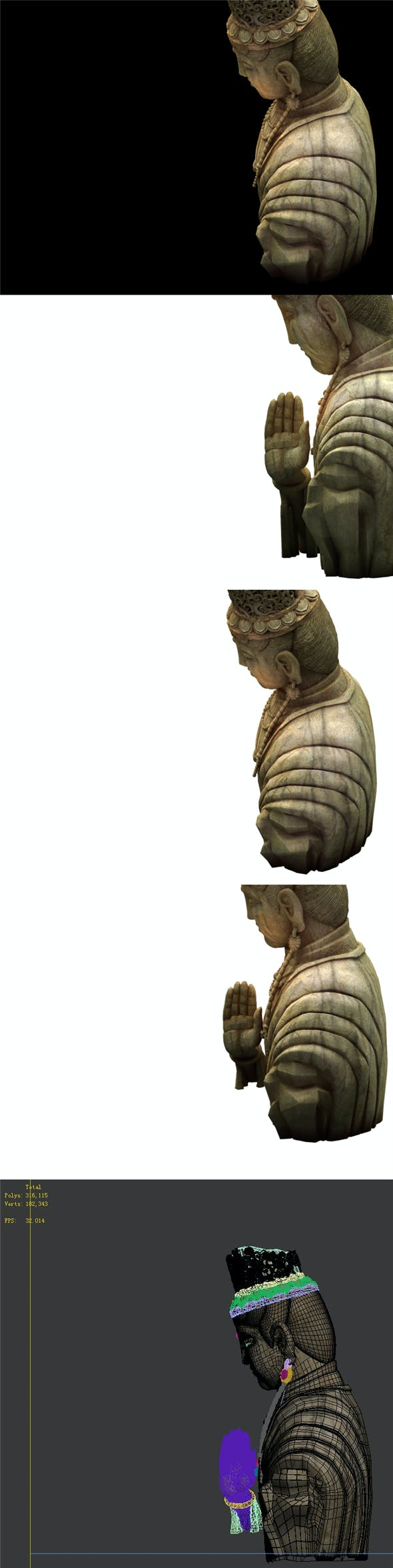 Game Model - Kasai Buddha Traces Forest statue 02 - 3DOcean Item for Sale