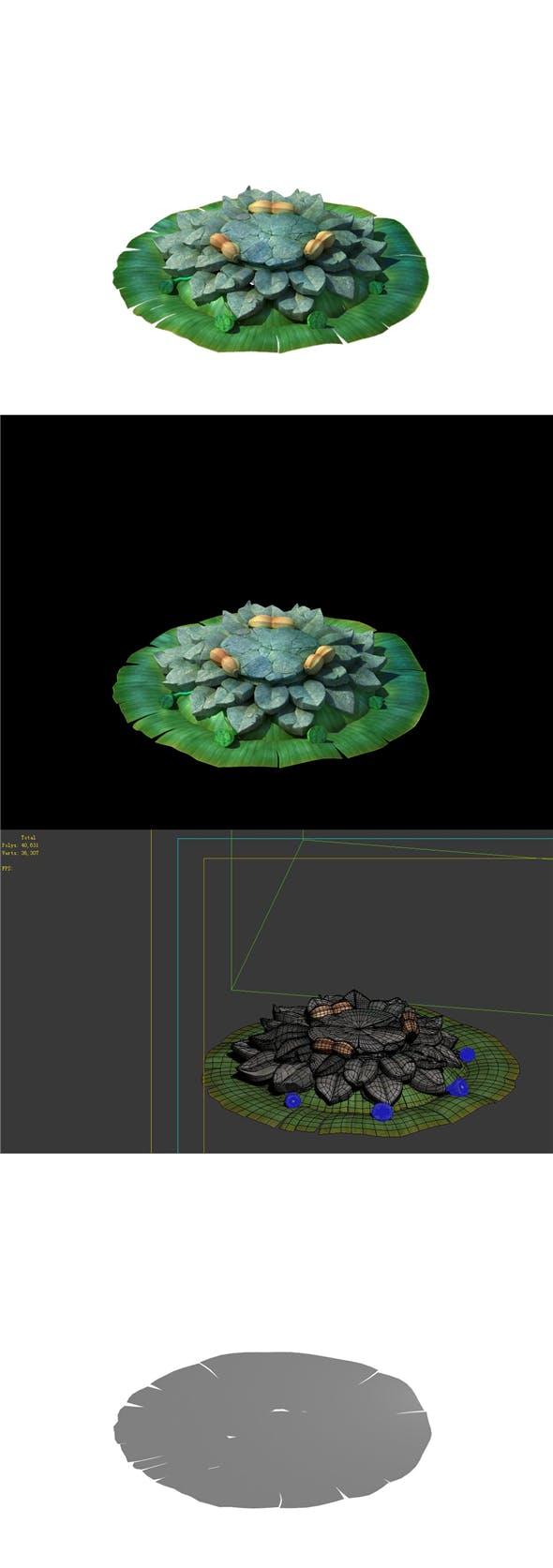 Game Model - Kapu Buddha Trail Forest Big Lotus Stone Block 02 - 3DOcean Item for Sale