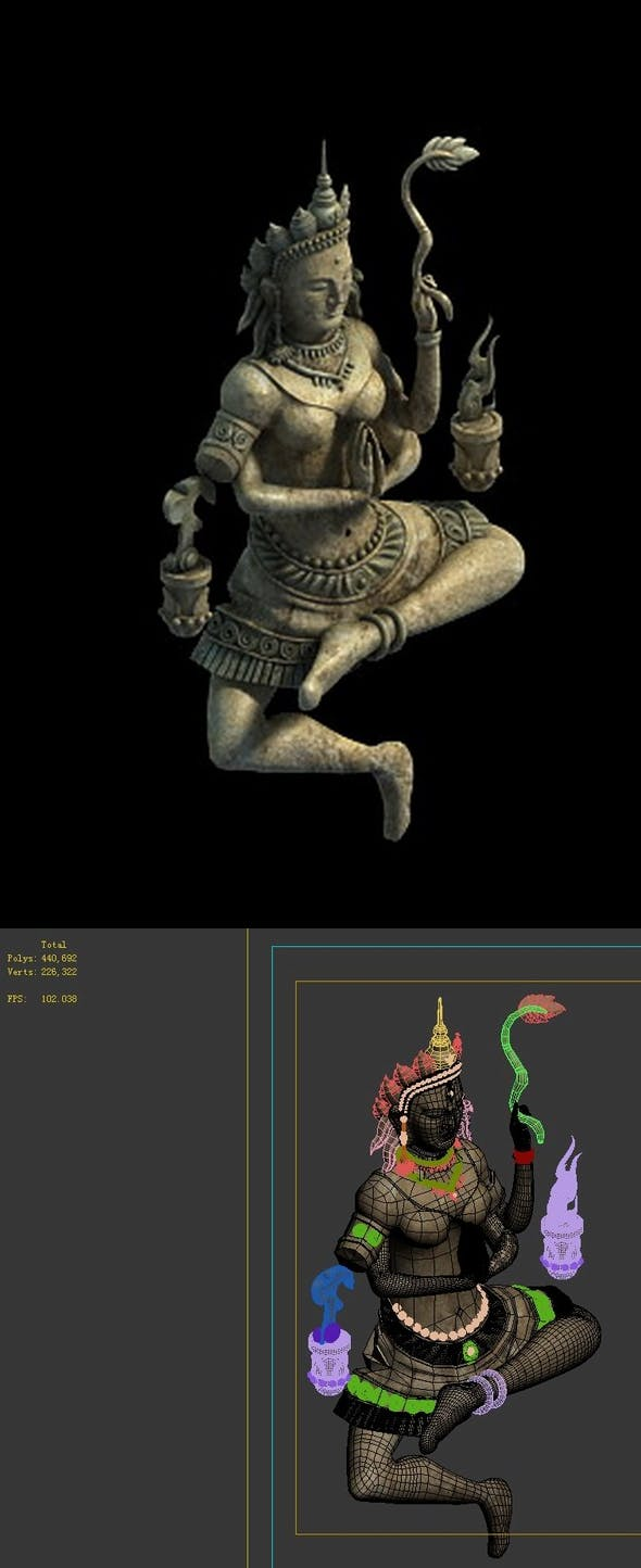 Game Model - Kapya Buddha Forest Law Hall - statue - 3DOcean Item for Sale