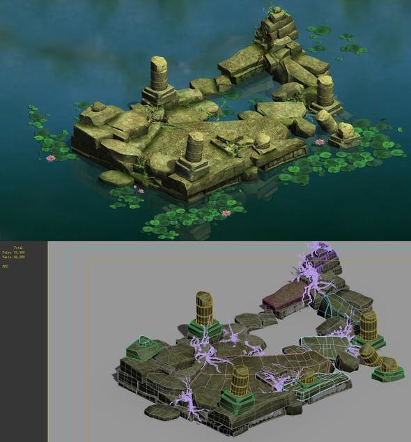 Game Model - Kashayana Buddha Forest Water Cloister - 3DOcean Item for Sale