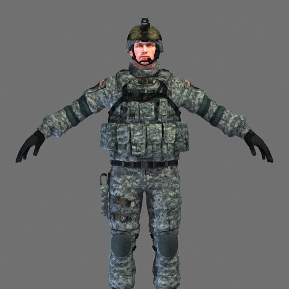 US Marine Soldier Mid High Poly