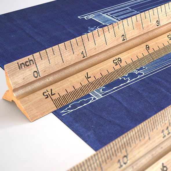 HD Wooden Ruler 6 real scale