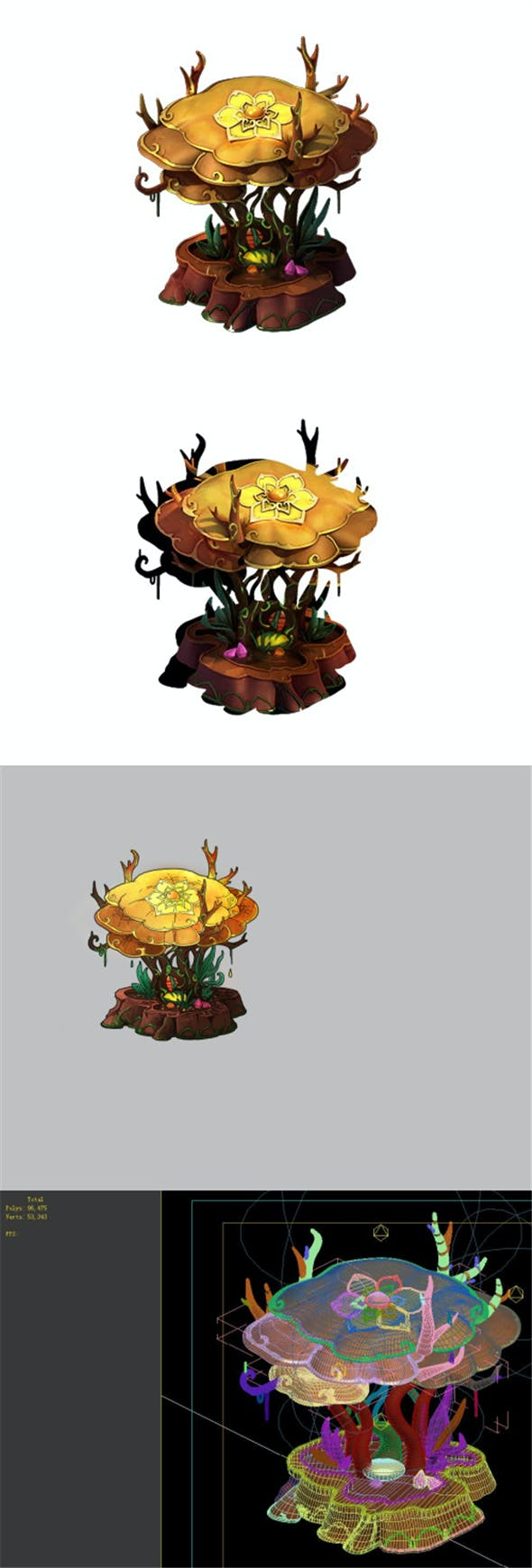 Game Model - Family Objects - Chaoyang Treasure Table 03 - 3DOcean Item for Sale