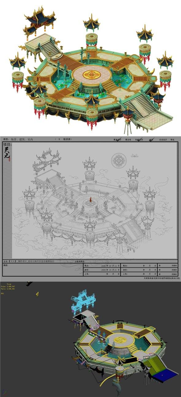 Game Model - Hanging Garden - Kunlun Hui poly Sendai - 3DOcean Item for Sale