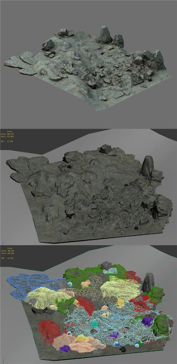 Field - stone surface - 3DOcean Item for Sale
