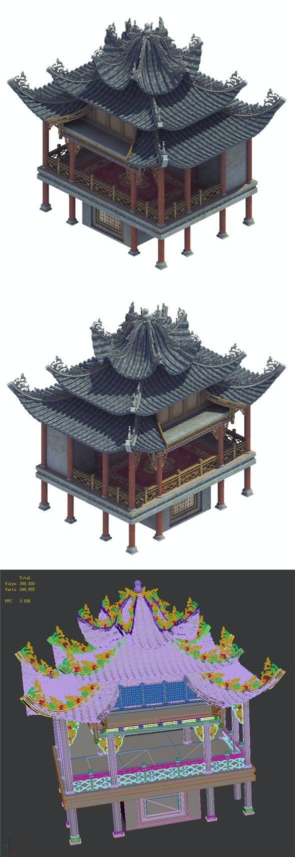 Ancient Chinese - Cultural Building - Theater House - 3DOcean Item for Sale