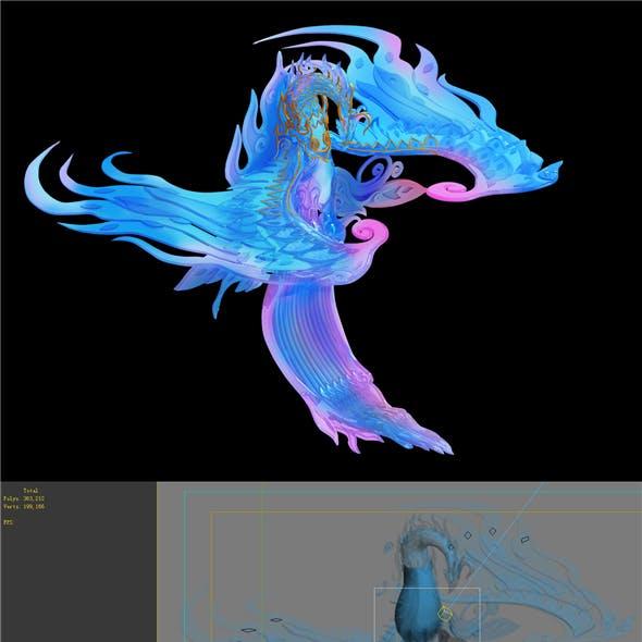 Game model - Bi La City - Royal Palace statue Phoenix
