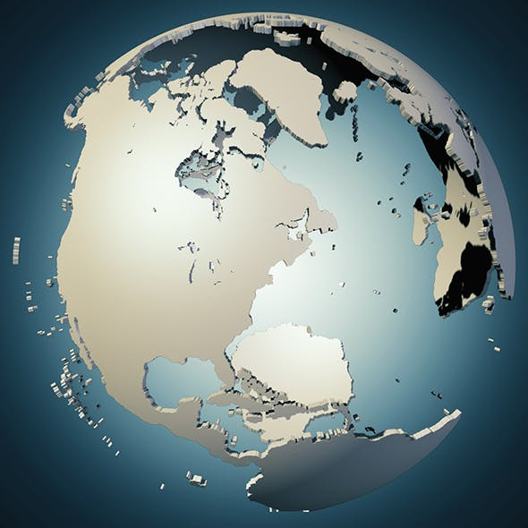 earth continents globe 3D Model
