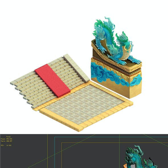 Game model - Bi La City - Royal palace in front of the guardian beast