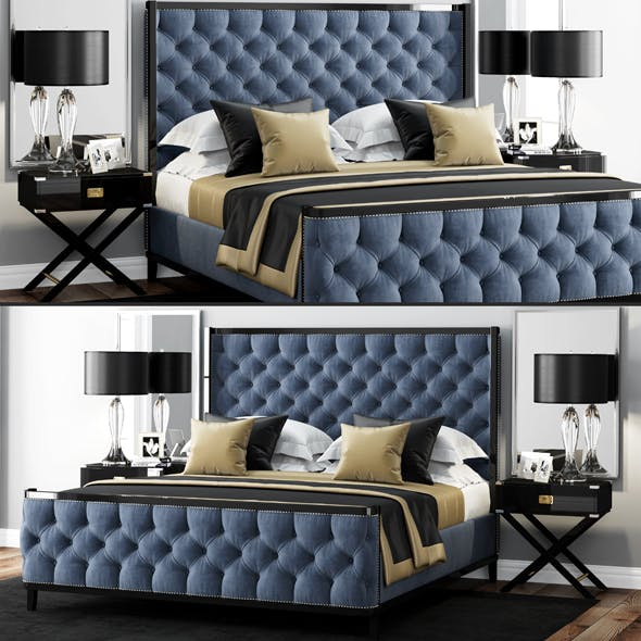 LuXeo USA Kensington Queen Tufted Bed - 3DOcean Item for Sale