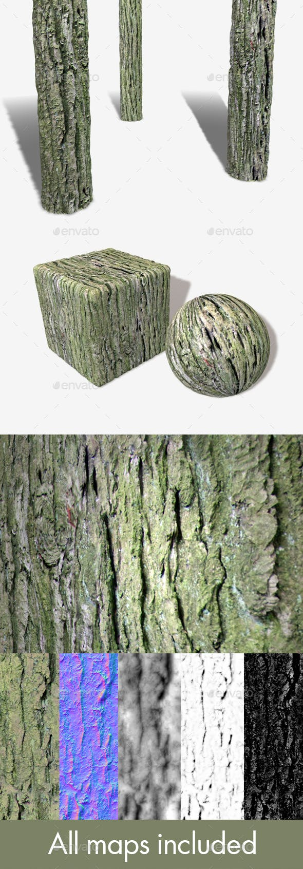 Thick Tree Bark Seamless Texture - 3DOcean Item for Sale