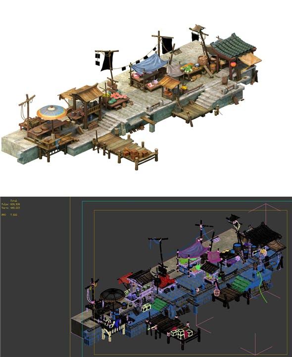 Game Model - City Food Market - 3DOcean Item for Sale