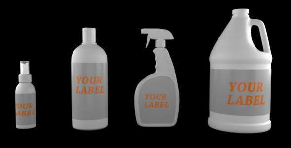 Plastic Bottles and Containers with Label PACK - 3DOcean Item for Sale