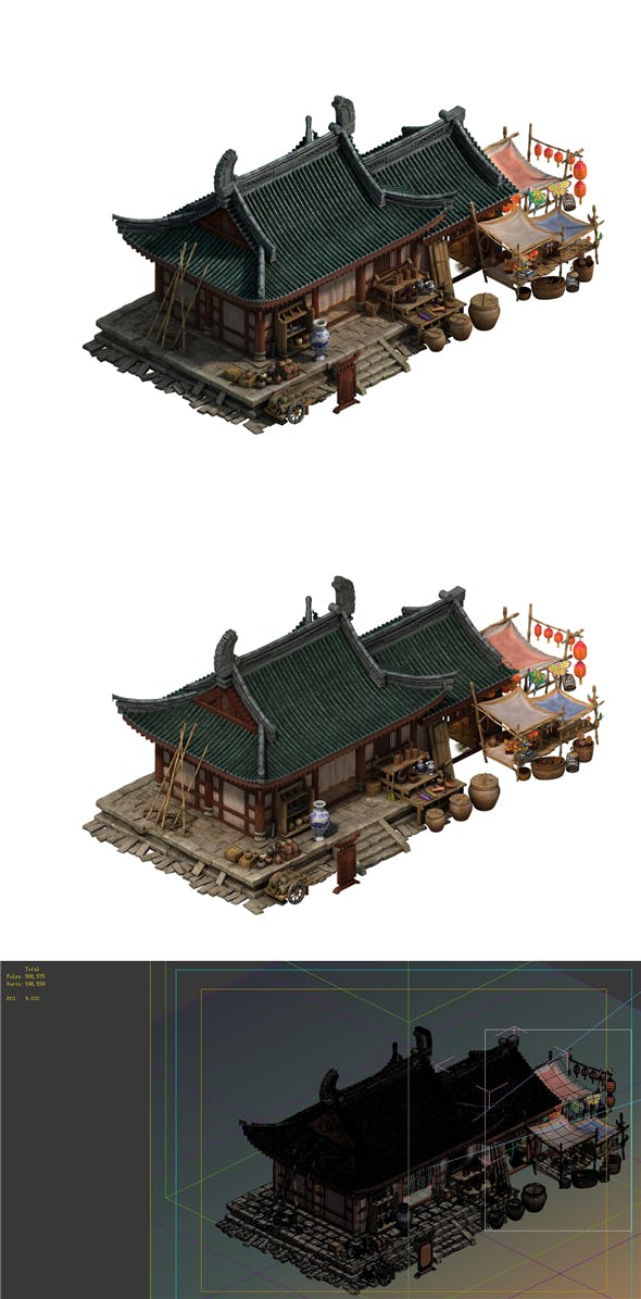 Game model - city - small grocery store - 3DOcean Item for Sale