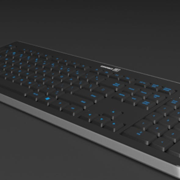 Detailed Blue LED Illuminated Gaming Keyboard