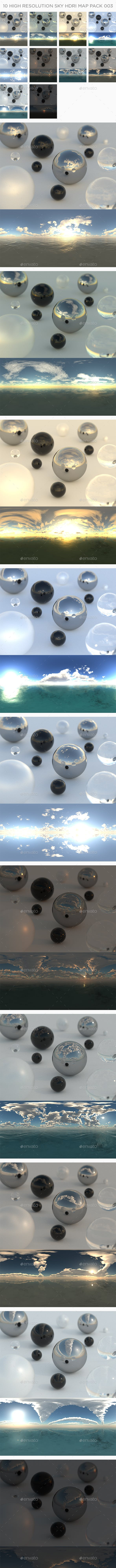 10 High Resolution Sky HDRi Maps Pack 003 - 3DOcean Item for Sale