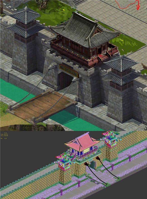 Defense Wall - City Gate - Suspension Bridge - 3DOcean Item for Sale