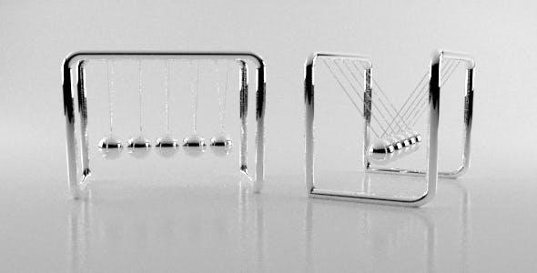 Newton's Cradle Desk Silver Balls - 3DOcean Item for Sale