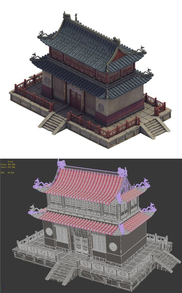Heyang City - Temple Hall - 3DOcean Item for Sale