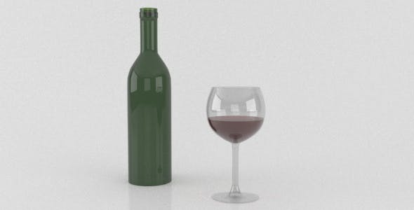 Wine Bottle and a filled glass - 3DOcean Item for Sale