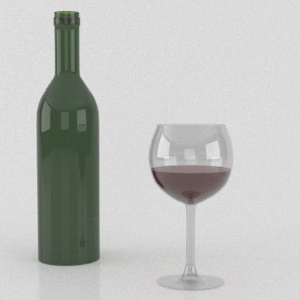 Wine Bottle and a filled glass
