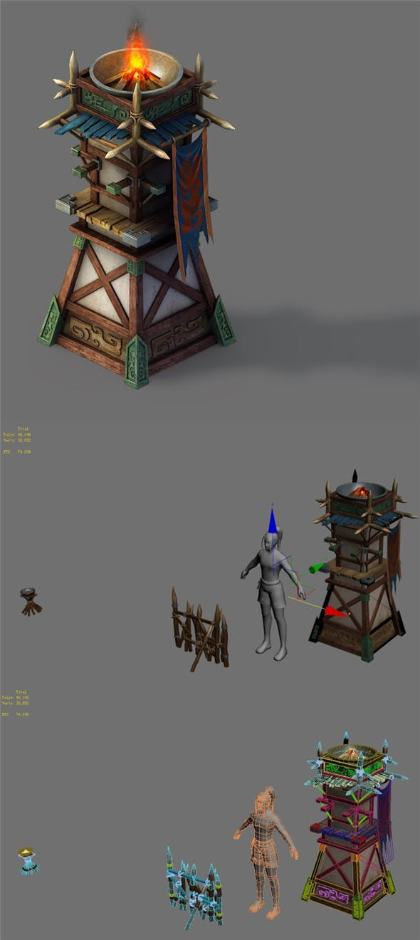 Barracks - beacon towers - 3DOcean Item for Sale