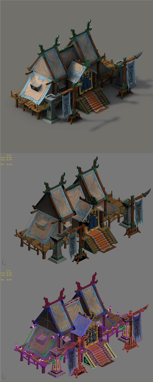Barracks - general tents - 3DOcean Item for Sale