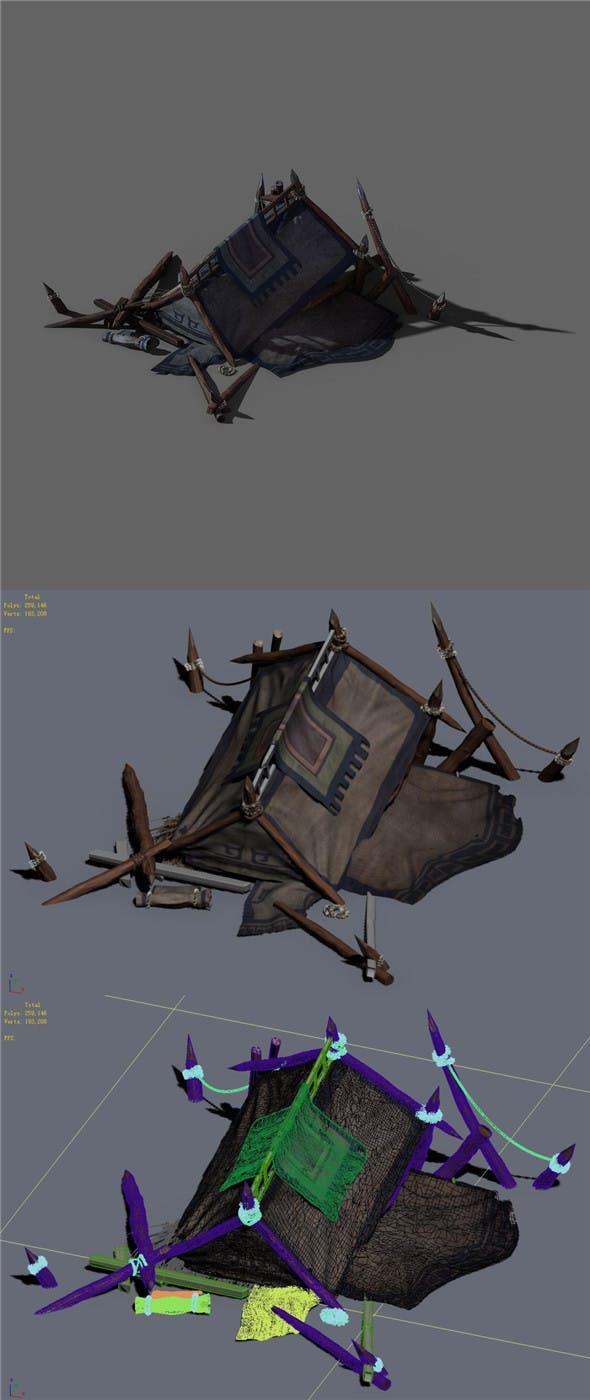 Barracks - broken tent 02 - 3DOcean Item for Sale