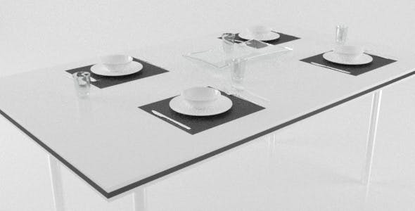 Modern Kitchen Table Set with Cutlery, Bowls, Glasses - 3DOcean Item for Sale