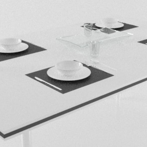 Modern Kitchen Table Set with Cutlery, Bowls, Glasses