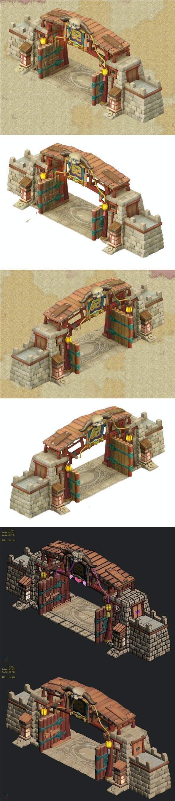 Cartoon version - city gate 03 - 3DOcean Item for Sale