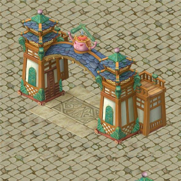 Cartoon version - city gate - wall