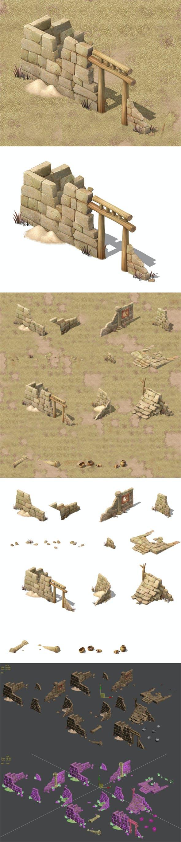 Cartoon version - village ruins - 3DOcean Item for Sale