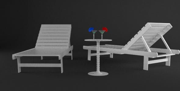 Beach Chairs with Table and Martini Glasses with Umbrellas - 3DOcean Item for Sale