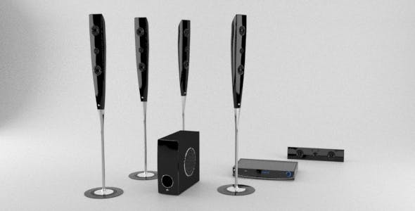 Photorealistic 5.1 Home Theater Audio System - 3DOcean Item for Sale
