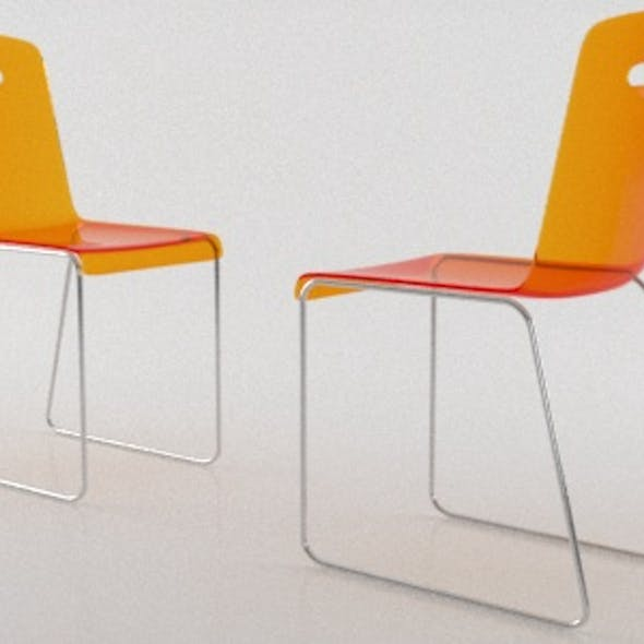 Modern Orange Plastic Transparent Chair with Chrome Support