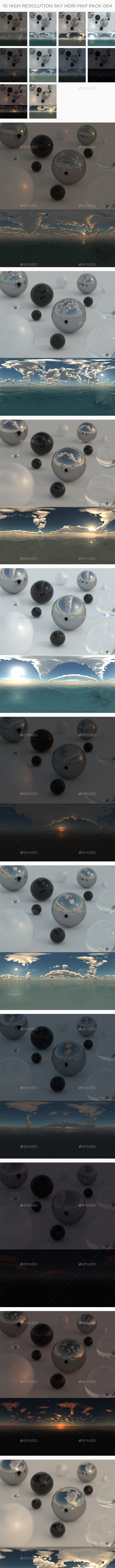 10 High Resolution Sky HDRi Maps Pack 004 - 3DOcean Item for Sale